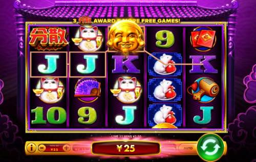 Da Hei Ci Fu Big Bonus Slots A winning Three of a Kind.