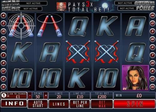 Daredevil Big Bonus Slots main game board featuring 5 reels and 20 paylines