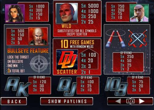Daredevil Big Bonus Slots paytable featuring a bullseye feature, wild, scatter, free games and a 5,000x max payout