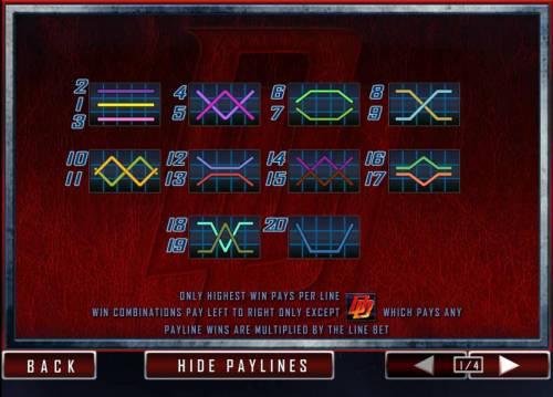 Daredevil Big Bonus Slots 20 payline layout configurations