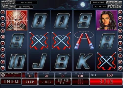 Daredevil Big Bonus Slots bullseye feature triggered on position 1 of reel 1