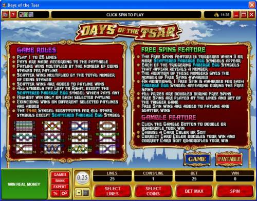 Days of the Tsar review on Big Bonus Slots