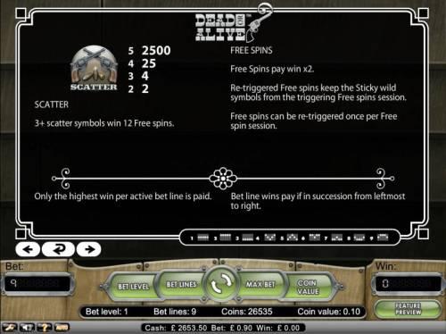 Dead or Alive Big Bonus Slots 3 plus scatter symbols win 12 free spins