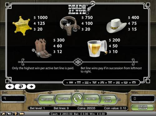 Dead or Alive Big Bonus Slots Only the highest win per active bet line is paid