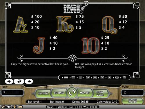 Dead or Alive Big Bonus Slots bet line wins pay if in succession from leftmost to right