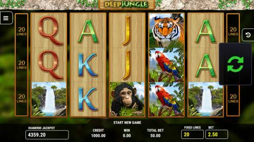Deep Jungle Big Bonus Slots Main game board featuring five reels and 20 paylines with a $10,000 max payout.