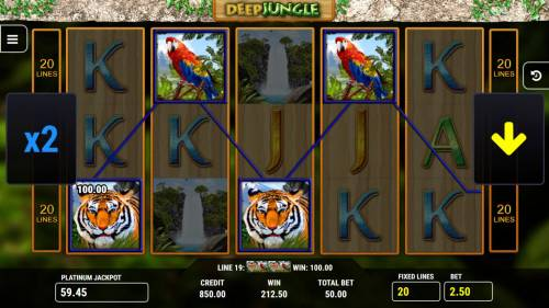 Deep Jungle Big Bonus Slots A winning Four of a Kind triggers a 100.00 line pay.