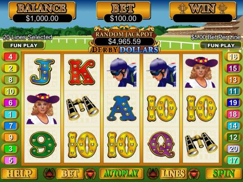 Derby Dollars Big Bonus Slots A horse racing themed main game board featuring five reels and 20 paylines with a $250,000 max payout