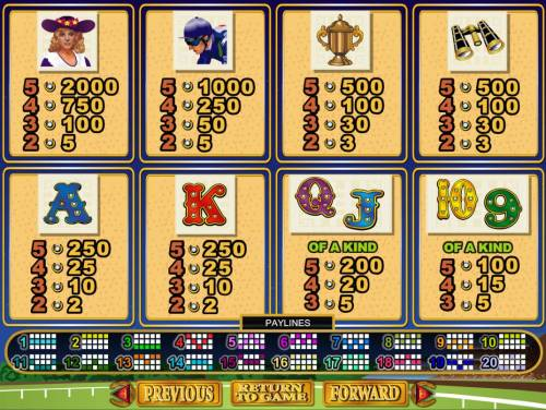 Derby Dollars Big Bonus Slots Slot game symbols paytable featuring horse racing inspired icons.