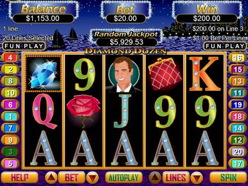 Diamond Dozen Big Bonus Slots A winning Five of a Kind triggers a 200 coin pay out.