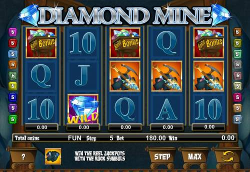 Diamond Mine Big Bonus Slots Main game board featuring five reels and 18 paylines with a $62,500 max payout.