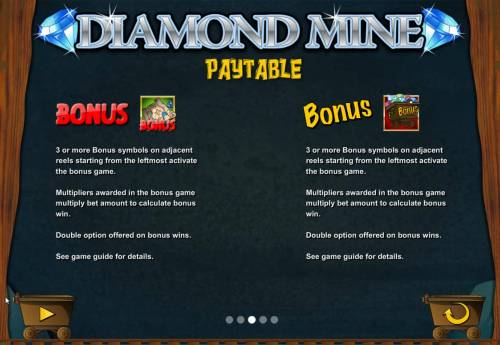 Diamond Mine Big Bonus Slots Wild, Scatter and Free Spins Rules and Pays