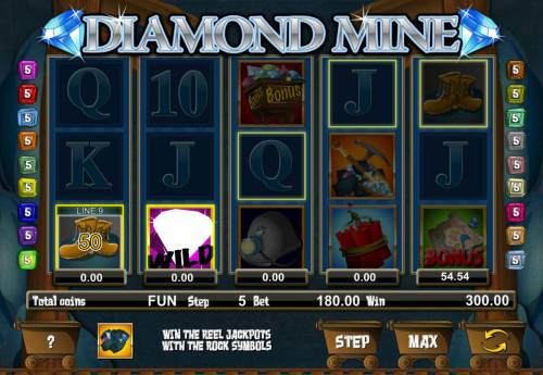 Diamond Mine Big Bonus Slots Miner free spins pays out a 300.00 award