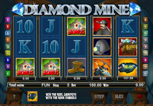Diamond Mine Big Bonus Slots 3 or more Treasure Map symbols landing on adjacent reels starting from the leftmost reel triggers the bonus game