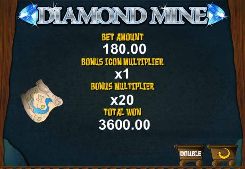 Diamond Mine Big Bonus Slots Bonus game pays out a total of 3600.00