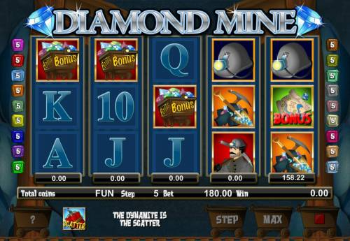 Diamond Mine Big Bonus Slots Landing 3 or more ore car bonus symbols will triggers the games 2nd bonus feature