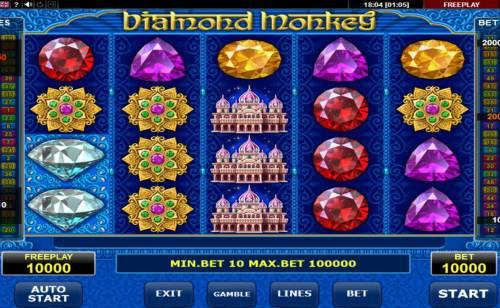 Diamond Monkey Big Bonus Slots Main Game Board
