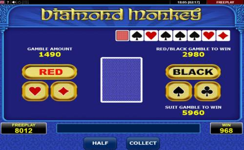 Diamond Monkey Big Bonus Slots Gamble Feature Game Board