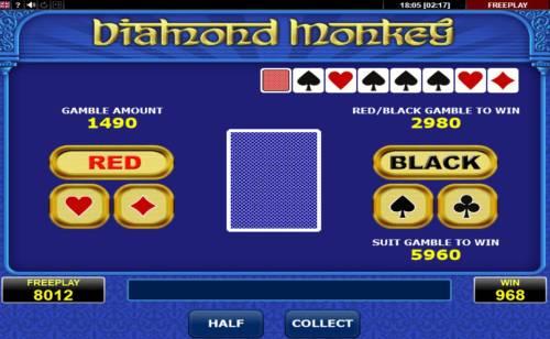 Diamond Monkey Big Bonus Slots Gamble Feature Game Board