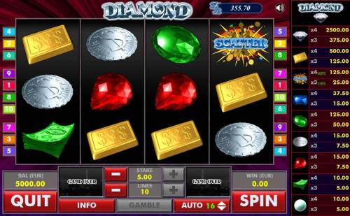 Diamond Big Bonus Slots Main game board featuring five reels and 10 paylines with a $2,500 max payout.