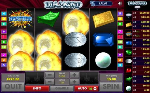 Diamond Big Bonus Slots After all wins are paid, winning symbols are exploded and new symbols drop in place giving player another chance at more wins