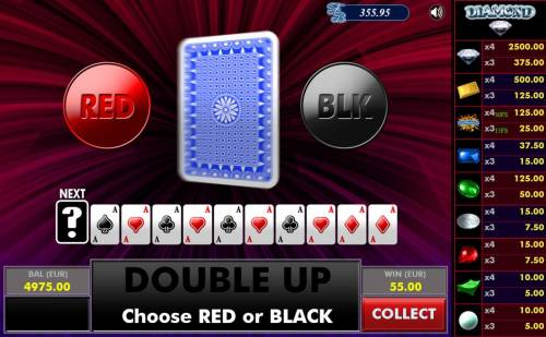 Diamond Big Bonus Slots Gamble Feature - To gamble any win press Gamble then select Red or Black