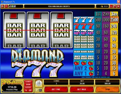 Diamond 7s review on Big Bonus Slots