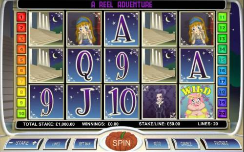 Diamond Slipper Big Bonus Slots Main game board featuring five reels and 20 paylines with a $20,000 max payout