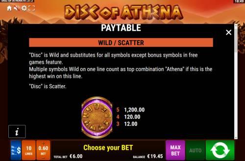 Disc of Athena Big Bonus Slots Wild and Scatter Symbol Rules