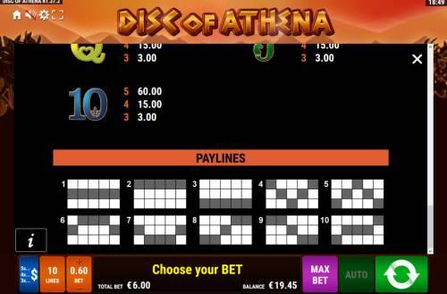 Disc of Athena Big Bonus Slots Paylines 1-10