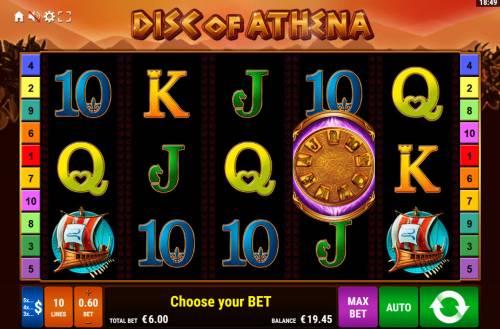 Disc of Athena Big Bonus Slots Main Game Board