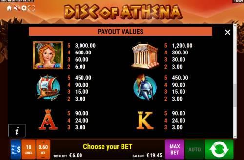 Disc of Athena Big Bonus Slots High Value Symbols