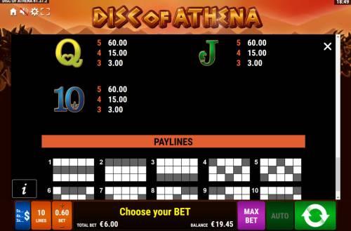 Disc of Athena Big Bonus Slots Low Value Symbols