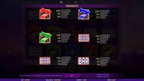 Disco Double review on Big Bonus Slots