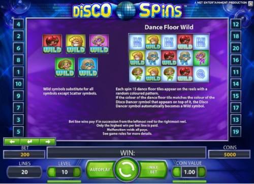 Disco Spins Big Bonus Slots dance floor wild rules