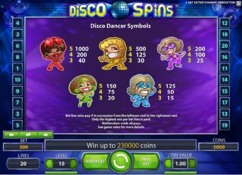 Disco Spins Big Bonus Slots disco dancer symbols paytable