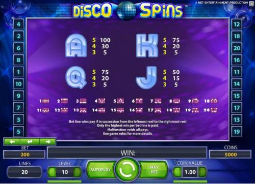 Disco Spins Big Bonus Slots slot game symbols paytable and payline diagrams