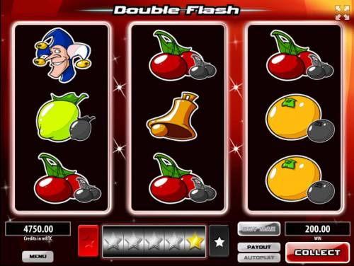 Double Flash Big Bonus Slots The gamble feature option is available after every winning spin. To play, clcik the Gamble button and then select whether a white star or a black star will appear next.
