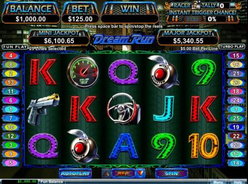Dream Run Big Bonus Slots A car racing themed main game board featuring five reels and 25 paylines with a $50,000 max payout