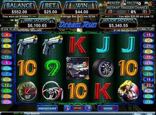 Dream Run Big Bonus Slots A winning Three of a Kind.