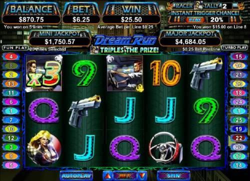 Dream Run Big Bonus Slots x3 for a 25.50 coin jackpot