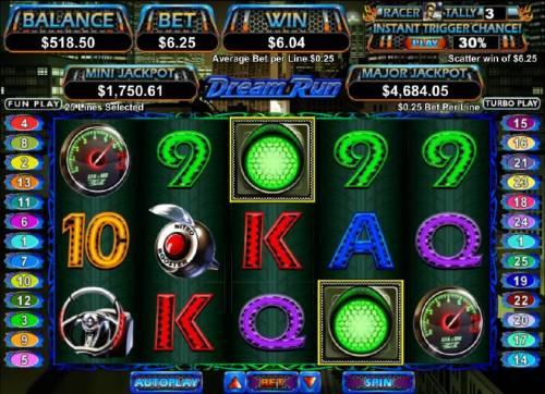 Dream Run Big Bonus Slots scatter win trigged by two green traffic light symbols