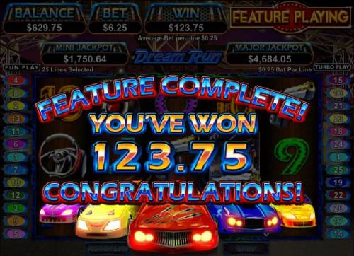Dream Run Big Bonus Slots bonus feature completed with a 125 coin payout