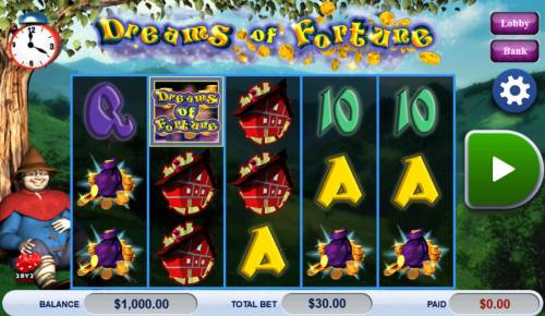 Dreams of Fortune Big Bonus Slots Main game board featuring five reels and 30 paylines with a $121,500 max payout.