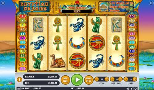 Egyptian Dreams Big Bonus Slots Main Game Board