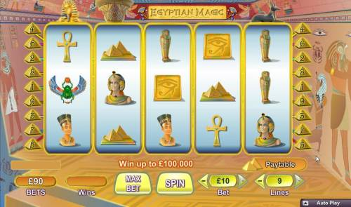Egyptian Magic Big Bonus Slots Main game board featuring five reels and 9 paylines with a $100,000 max payout