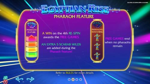 Egyptian Rise Big Bonus Slots Pharaoh Feature - A win on the 4th re-spin awards the Free Games.