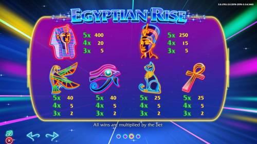 Egyptian Rise Big Bonus Slots Slot game symbols paytable