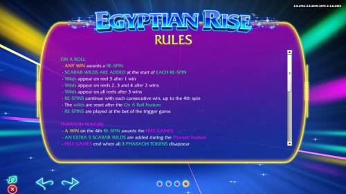 Egyptian Rise Big Bonus Slots On A Roll Feature Rules