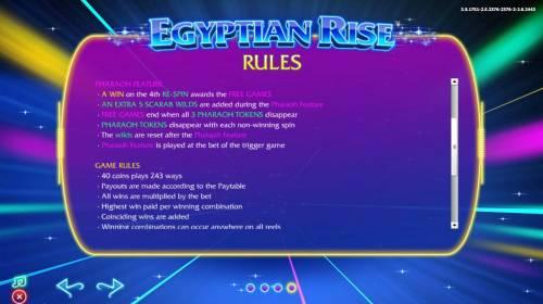 Egyptian Rise Big Bonus Slots Pharaoh Feature Game Rules